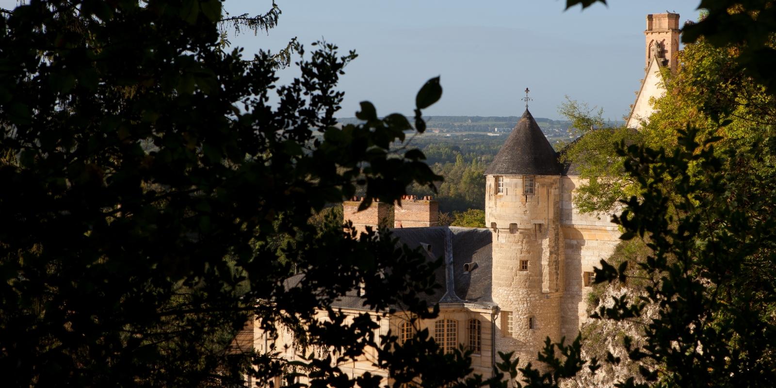 Le château de la Roche-Guyon à travers les feuilles dans le parc naturel régional du Vexin français