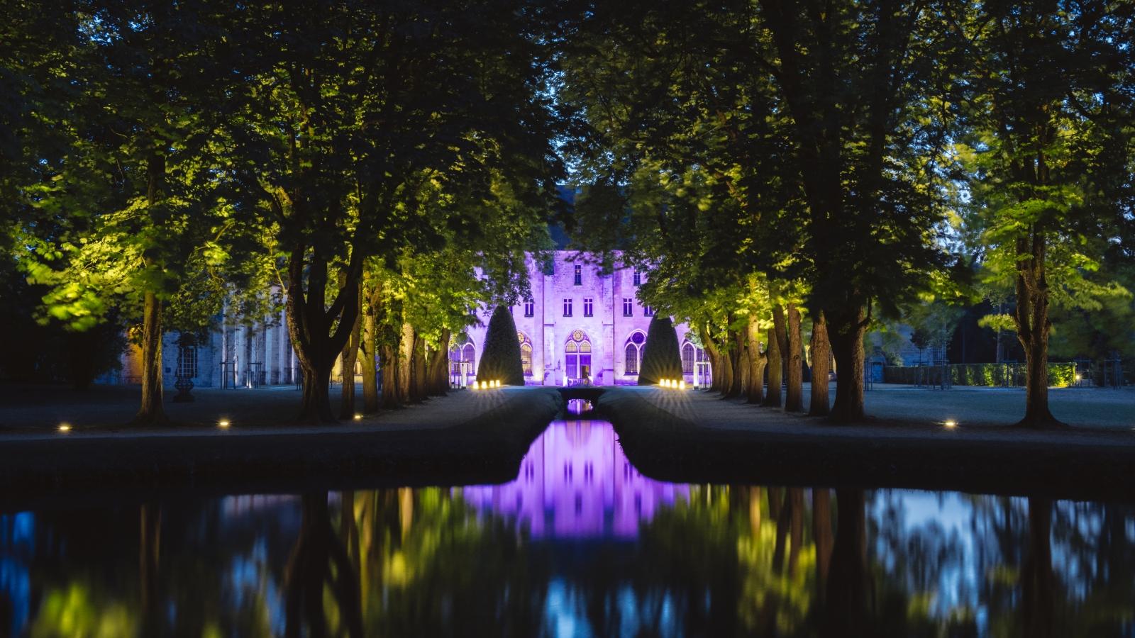 Photo du parc de Royaumont de nuit avec jeux de lumières sur la façade du monument et reflet de la vue dans l'eau.