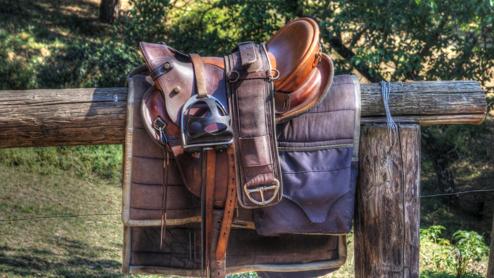 Photo d'une selle en cuir et étriers posés sur une barrière en bois