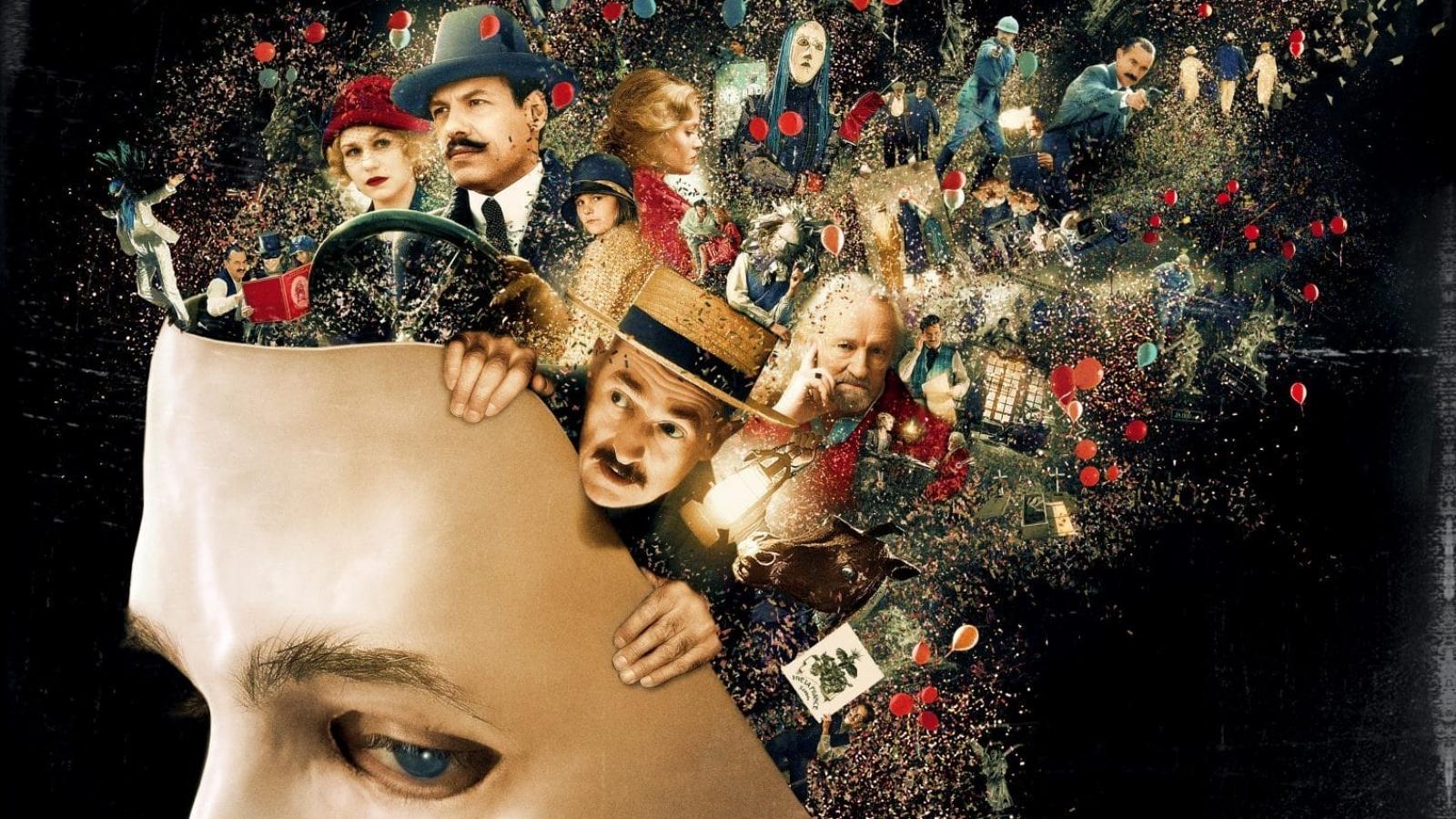 Affiche du film Au revoir là haut avec un masque et quelques personnages comme Dupontel