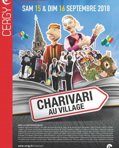 Flyer 2018 Charivari au village à Cergy village représentant diverses animations