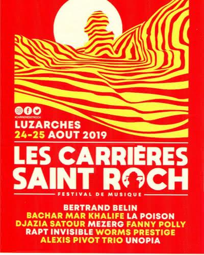 Affiche 2019 du festival de musique Les carrières Saint-Roch à Luzarches représentant un dessin des carrières