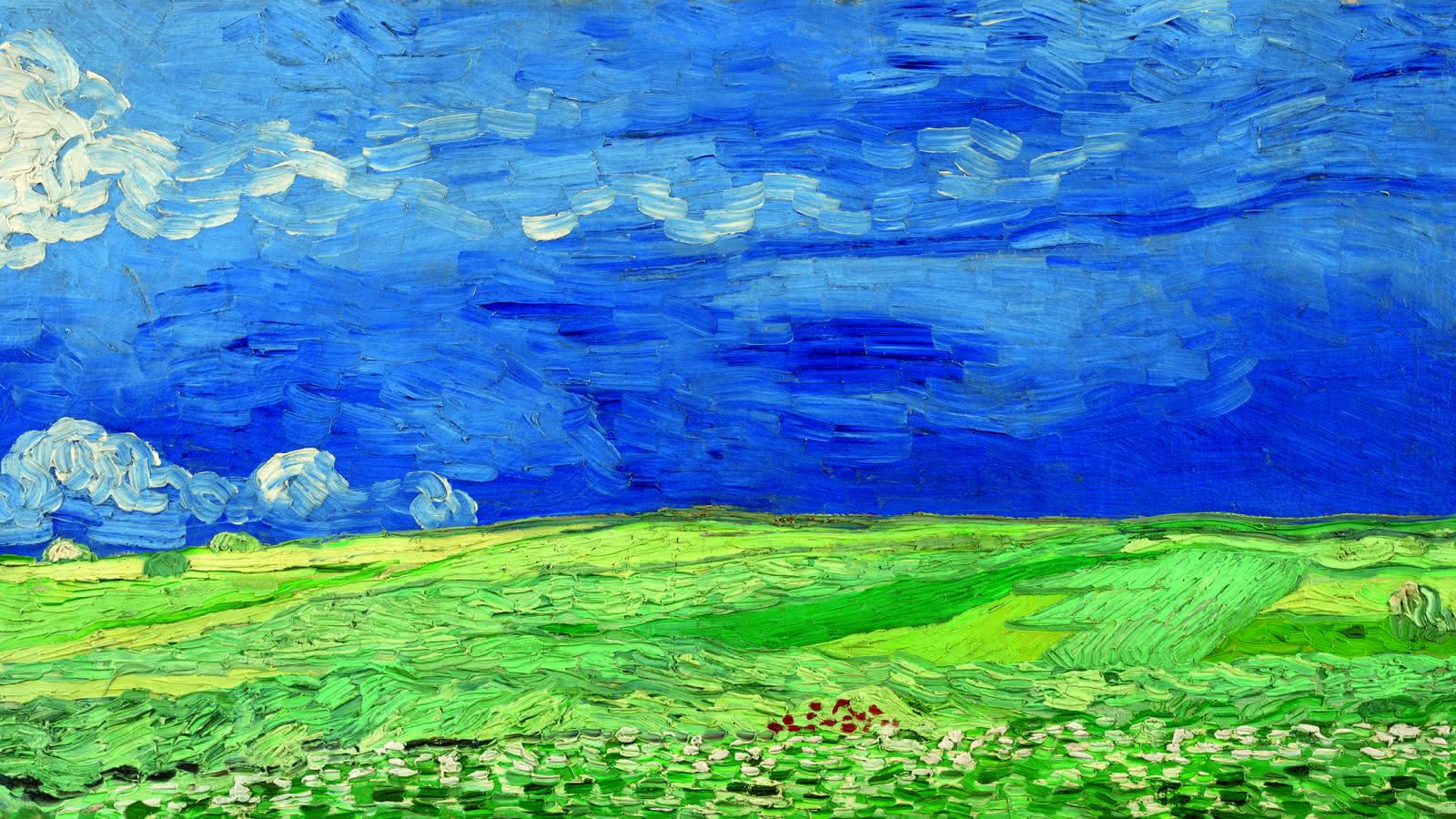 Tableau de Vincent Van Gogh représentant un paysage avec un ciel bleu à Auvers - Van Gogh Museum