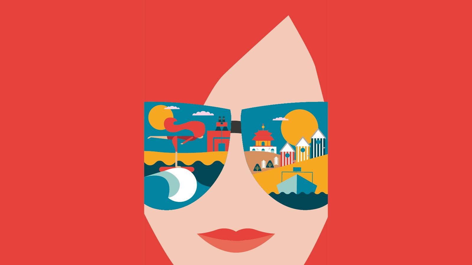 Image d'une femme avec dans ses lunettes de soleil des scénettes représentant les hauts monuments du Val d'Oise