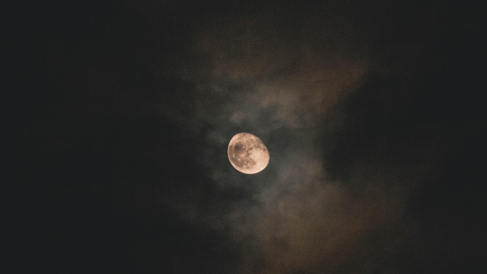 Photo d'une nuit avec une lune jaune