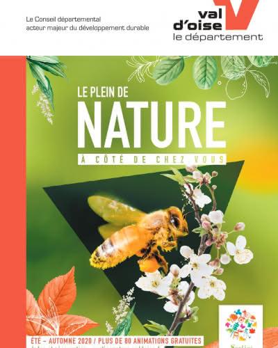Page de couverture des Sorties Nature représentant une abeille butinant une fleur sur fond vert