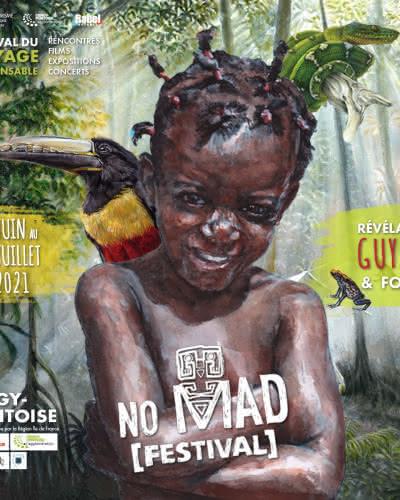 Illustration d'un enfant guyanais avec un toucan dans la forêt amazonienne