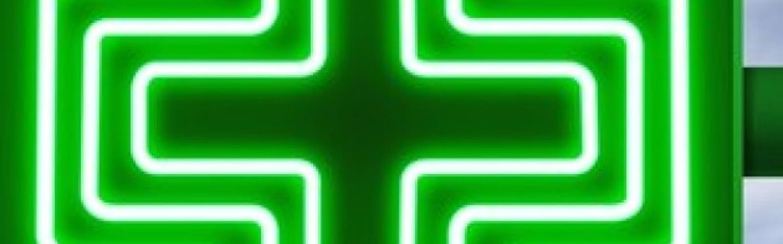 croix verte lumineuse