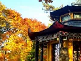 Photo du Pavillon chinois de L'Île Adam, Val d'Oise, sous les couleurs automnales.
