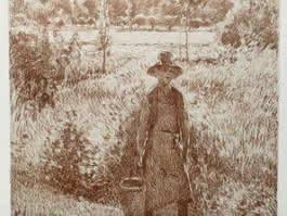 Le jardinier, lithographie d'après Camille Pissarro